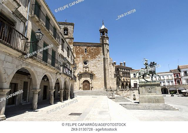 Trujillo, Spain - July 14, 2018: Equestrian statue of the conquistador Francisco Pizarro, the work of the American sculptor Charles Cary Rumsey