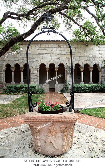 the interior courtyard Spanish Monastery in Miami, Florida, USA