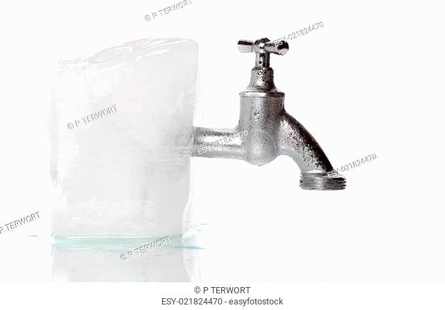 ice with frozen water-tap