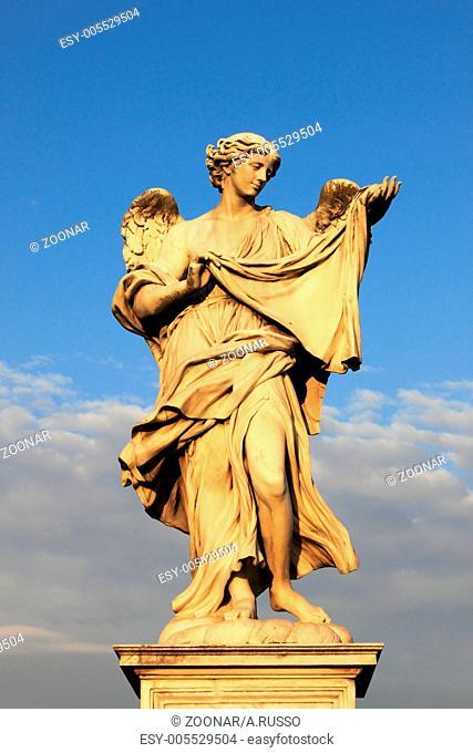 Angel statues on the Saint Angel bridge of Rome