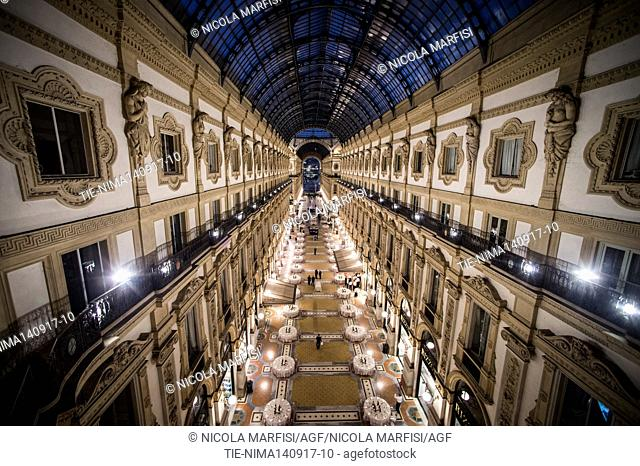 View of the banquet in the Vittorio Emanuele II Gallery for celebration the 150th anniversary of the construction of the Gallery at Milan, ITALY-13-09-2017