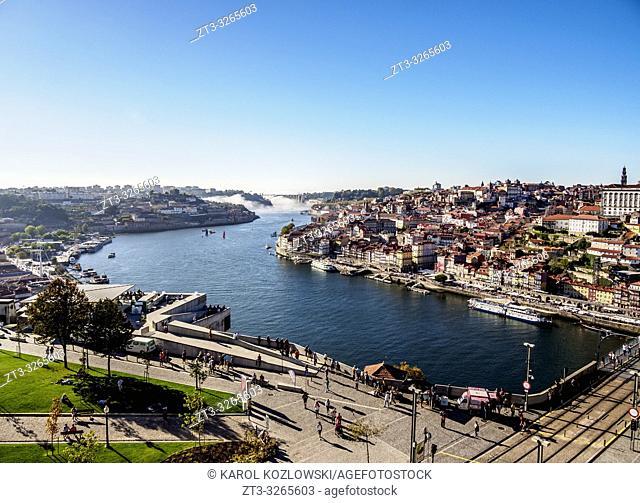 View over Jardim do Morro towards Douro River and Porto, Vila Nova de Gaia, Porto, Portugal