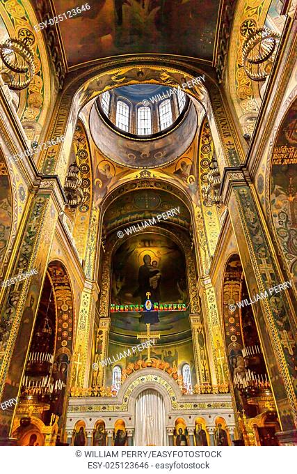 Basilica Dome Saint Volodymyr Cathedral Kiev Ukraine. Saint Volodymyr was built between 1882 and 1896. It is the mother church of the Ukrainian Orthodox church