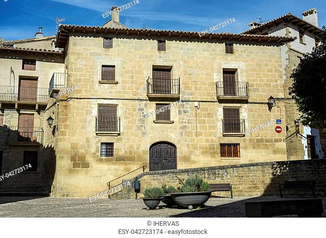 Traditional architecture in Uncastillo. It is a historic town and municipality in the province of Zaragoza, Aragon, eastern Spain