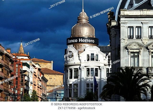 Herrero Bank in Center of Oviedo City, Asturias, Spain. One of the stops of the Transcantabrico Gran Lujo luxury train