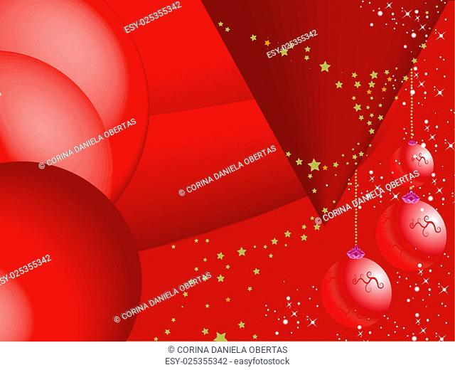 Abstract red Christmas background with baubles and snowflakes