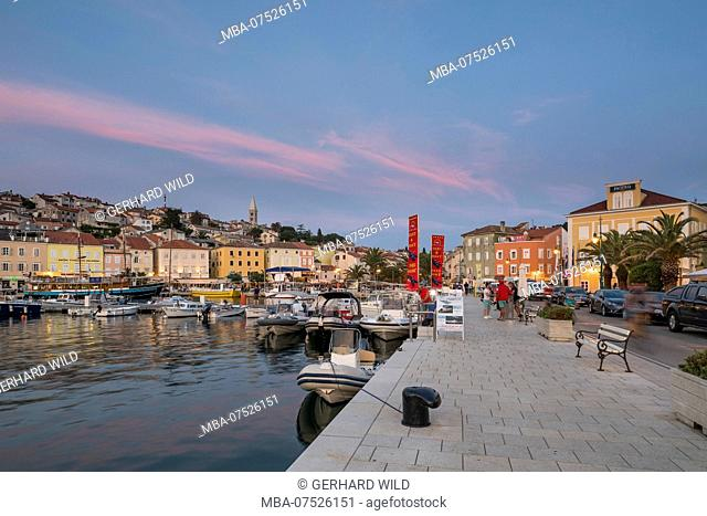 Evening mood, harbour promenade of Mali Losinj, Losinj Island, Kvarner Bay, Croatia