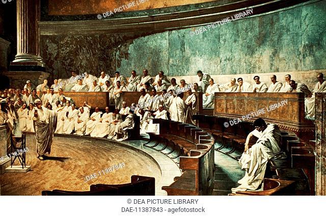 Cicero in the Senate denouncing Catiline, by Cesare Maccari (1840-1919), fresco from Palazzo Madama, Rome. Republican, Italy, 1st century BC