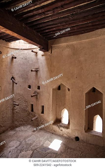 Guard room in Nakhl Fort with ladder access to the roof, Nakhl, Al Batinah South Governorate, Oman