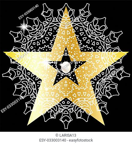 Gold star with huge precious pearls on black background