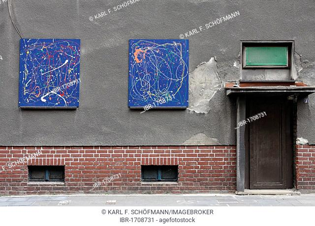 Demolition house with covered painted windows, Bruckhausen district, Duisburg, North Rhine-Westphalia, Germany, Europe