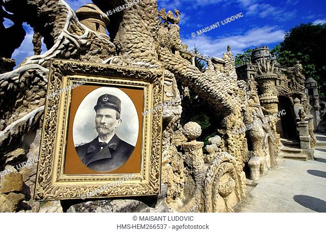 France, Drome, Whitby, Palais Ideal Factor Horse and portrait of Ferdinand Cheval