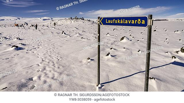 Lava stones-Winter at Laufskalavarda, Iceland. . People often stop to pile lava stones to bring them good luck on their journey
