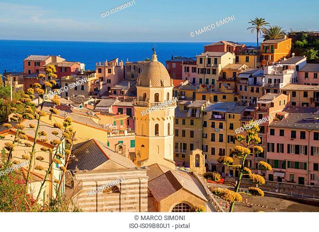 Colourful buildings of village, Vernazza, Liguria, Italy, Europe