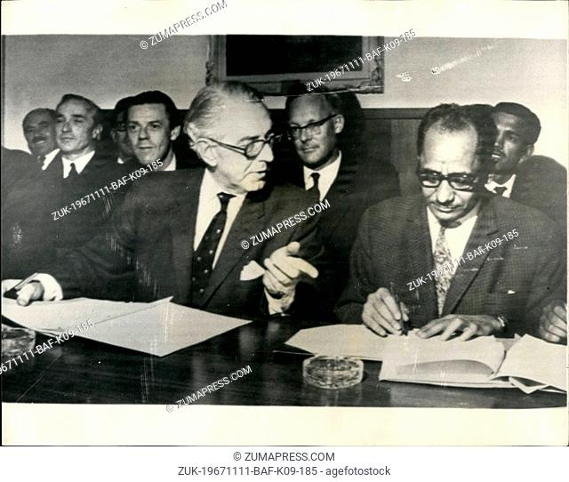 Nov. 11, 1967 - Agreement On South Arabia's Independence Signed In Geneva: Britain and Aden's National Liberation Front, today signed an agreement on South...
