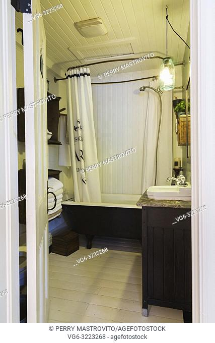 Bathroom with freestanding bathtub and white painted pinewood floor inside an old 1862 cottage style home