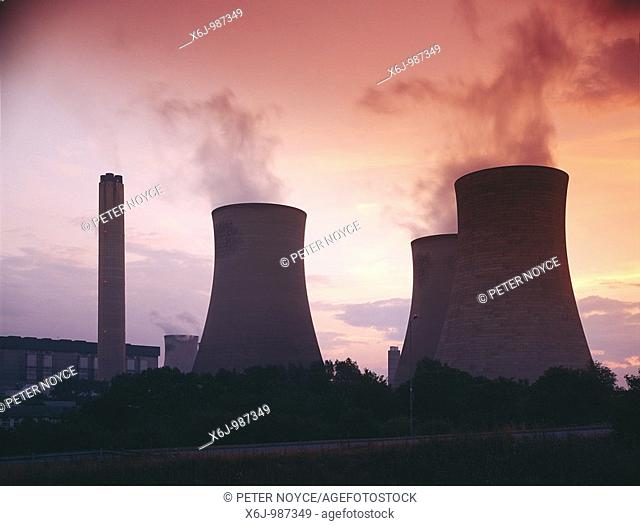 Didcot power station cooling towers at dusk