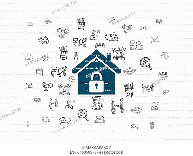 Business concept: Painted blue Home icon on White Brick wall background with Hand Drawn Business Icons