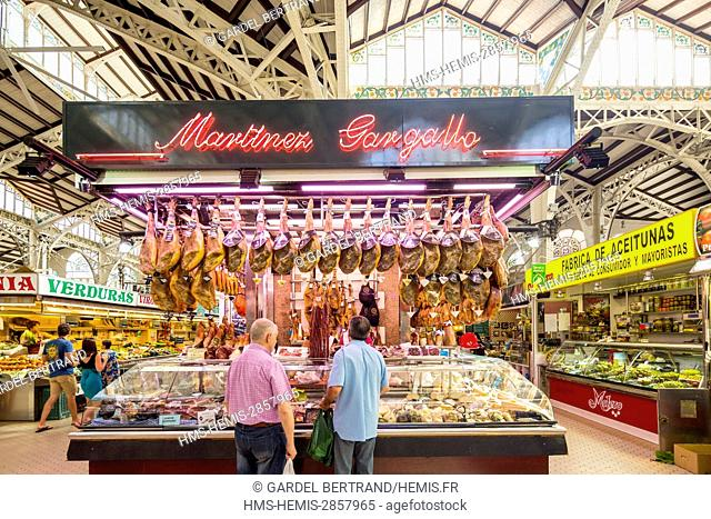 Spain, Valencia, historical center, the Central Market designed in 1914 by the architects of Barcelona Alexander Soler i March and Francesc Guardia i Vial