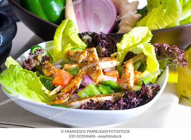 fresh colorfull sesame chicken salad close up