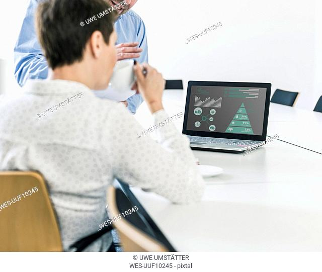 Businessman and businesswoman discussing data on laptop