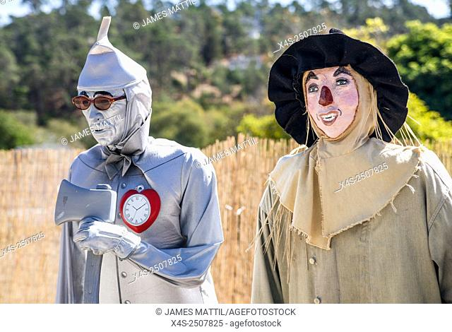 Tin man and scarecrow from The Wizard of Oz enter the scarecrow festival in Cambria, CA