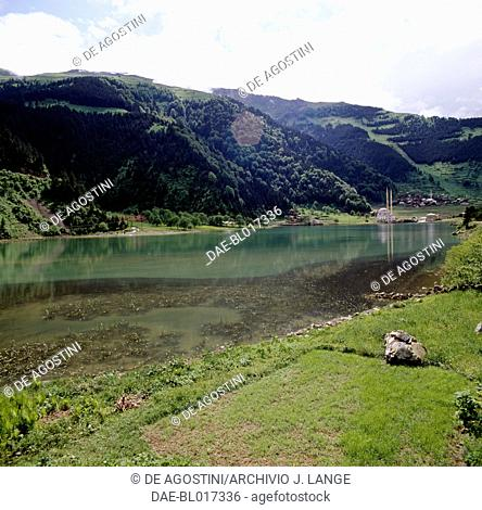 View of the mosque on Lake Uzungol, Trabzon, Black Sea region, Turkey