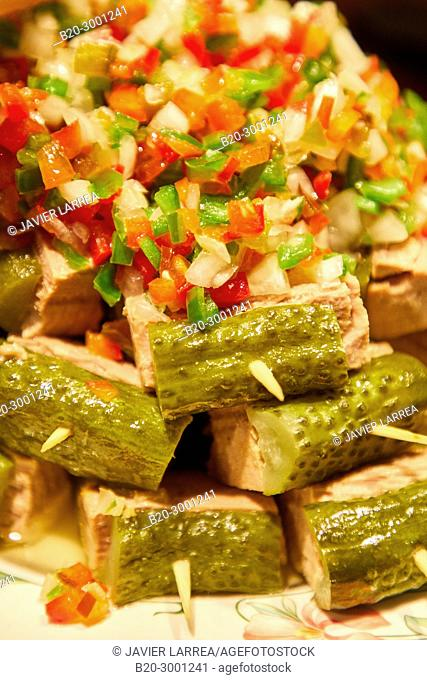 Pickles, Pintxos, Bar Taberna Aralar, Parte Vieja, Old Town, Donostia, San Sebastian, Gipuzkoa, Basque Country, Spain