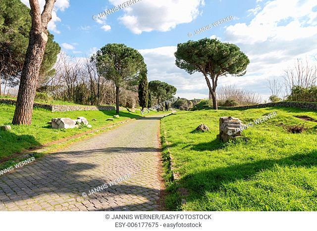 On the Appian Way, the Via Appia Antica, in Rome, Italy