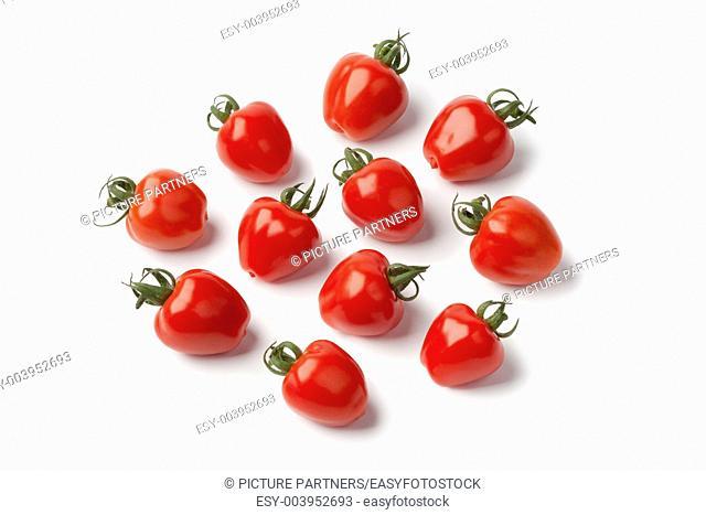 Strawberry tomatoes on white background