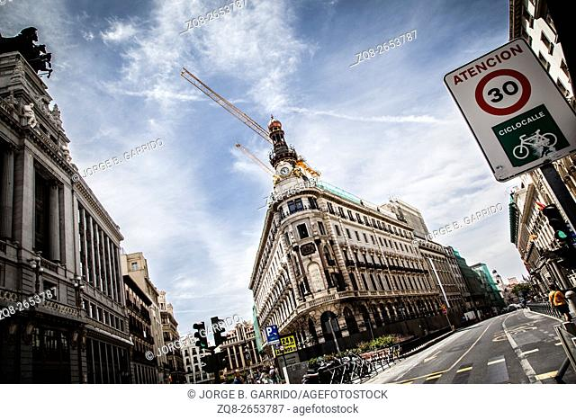 Streets and buildings in Madrid, Spain