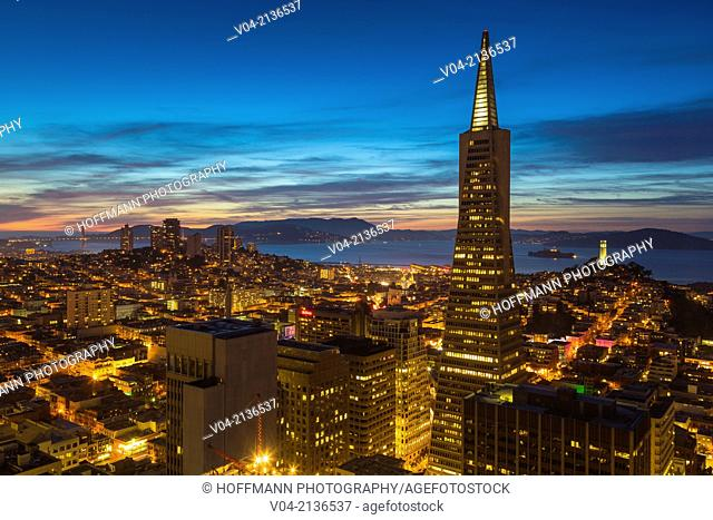 San Francisco skyline with Transamerica Pyramid at night, California, USA