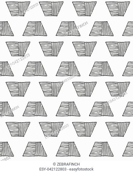 Hatched trapezoids black on white.Hand drawn with ink seamless background