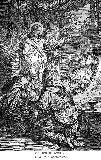 Jesus wakes the daughter of the Darius, historical steel engraving from the year 1860
