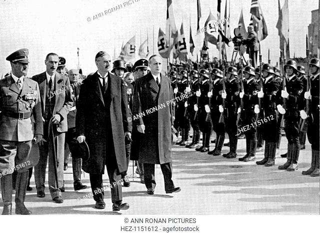 Chamberlain, Ribbentrop and Hitler at Munich, 1938. Photograph