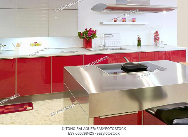Red island kitchen silver modern interior house architecture