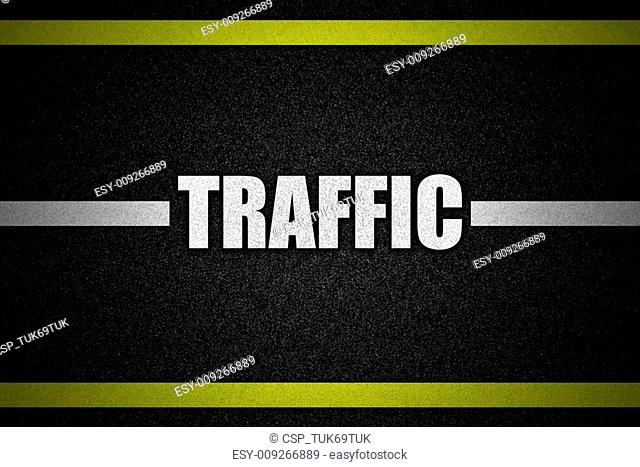 Traffic road surface with text