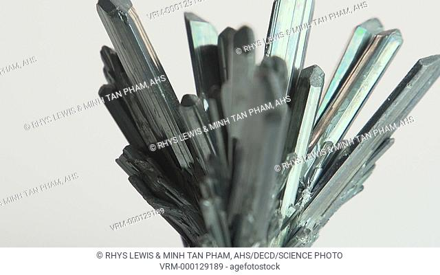 Specimen of crystals of the mineral stibnite, or antimony sulfide (Sb2S3). This mineral has been used since antiquity, powdered and suspended in oil