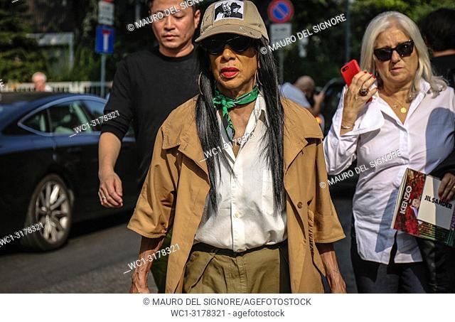 MILAN, Italy- September 19 2018: Women on the street during the Milan Fashion Week
