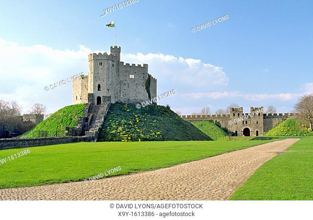 Cardiff Castle in Cardiff city centre, South Glamorgan, Wales, UK  Showing the original Norman motte and bailey