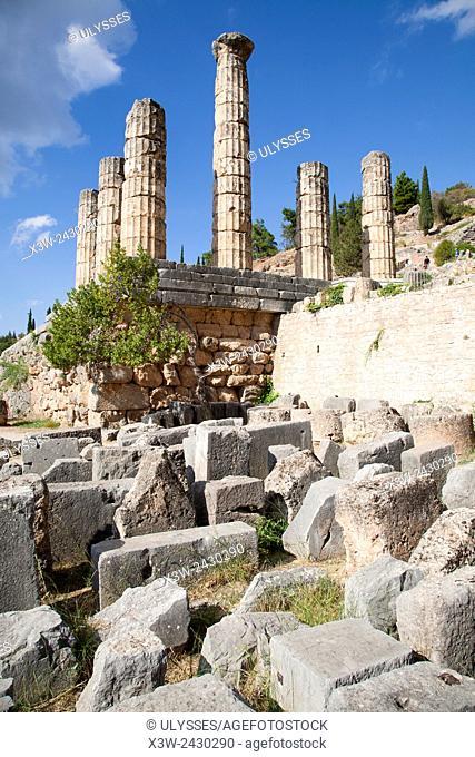 Temple of Apollo, Sanctuary of Apollo, Delphi archaeological site, Sterea Hellas, Greece, Europe