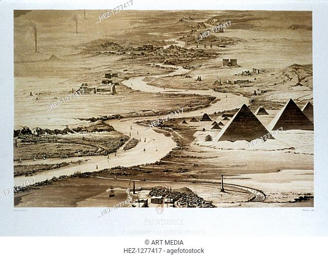 'From Alexandria to the Second Cataract', Egypt, 1841. View looking up the Nile Valley showing the Pyramids and other Ancient Egyptian temples