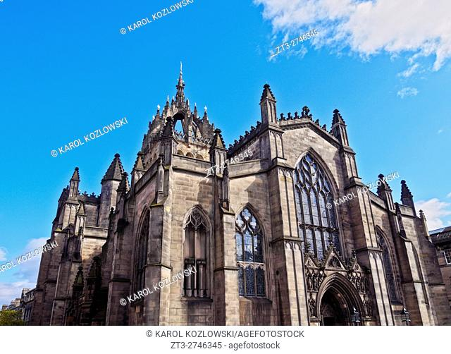 UK, Scotland, Lothian, Edinburgh, View of the St Giles' Cathedral.