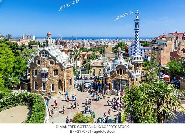 Spain, Catalonia, Barcelona, Gracia district, Park Güell, garden complex with architectural elements designed by Antoni Gaudi