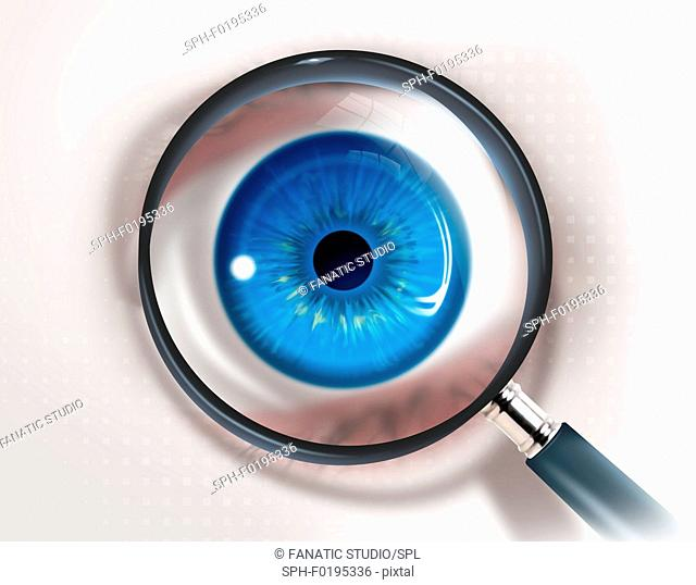 Illustration of magnifying glass and eye representing