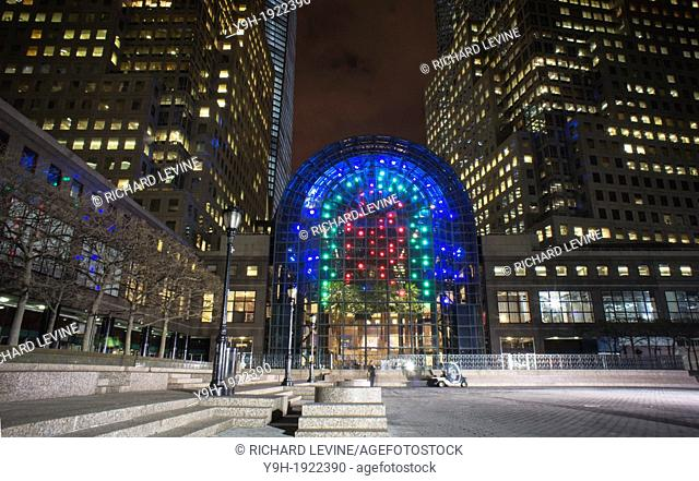 The installation of 'Light Cycles' in the Winter Garden of Brookfield Place formerly the World Financial Center in Lower Manhattan in New York The artwork is by...