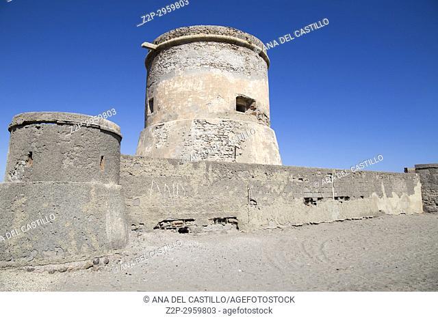 Defensive tower at Cabo de Gata St Miguel beach in Almeria, Andalusia, Spain