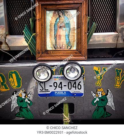 A big truck decorated with the image of Our Lady of Guadalupe during the annual pilgrimage to the Basilica of Our Lady of Guadalupe in Mexico City, Mexico