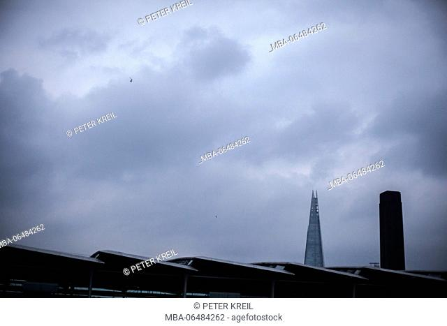 townscape at dusk with point of the Shard London Bridge of building, London, England, Great Britain