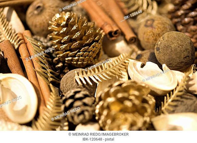 Christmas decoration from differents nuts, spices and pine cones